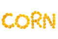Sweetcorn word corn made of sweet whole kernel corn Stock Images