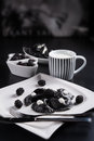 Sweeten pierogi with blackberries - B & W Royalty Free Stock Image