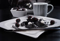 Sweeten pierogi with blackberries - B & W Royalty Free Stock Photos