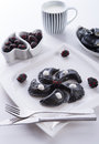 Sweeten pierogi with blackberries - B & W Stock Photography