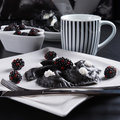Sweeten pierogi with blackberries - B & W Stock Photos