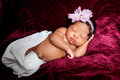 Sweetly Sleeping African American Newborn Girl