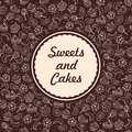 Sweets and bakery background vector hand drawing pattern with symbolic logo of Royalty Free Stock Image