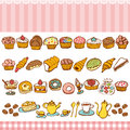 Sweets and bakes collection set of Stock Photo