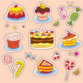 Sweets and cakes Stickers Royalty Free Stock Images