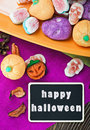 Sweets and candies for halloween blackboard Royalty Free Stock Photos