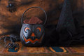 Sweets chocolate for halloween witch hat spider web selective focus Stock Images