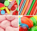 Sweets collage close ups of various kinds of Stock Photo