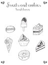 Sweets and cookies icons, cupcake, macaron, ice cream, cheesecak