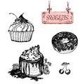 Sweets dessert set of hand drawn illustrations Royalty Free Stock Images