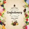 Sweets desserts cover food confectionery tea room vector illustration Stock Photography