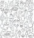 Sweets and drinks vector illustration of sweet food collection in black white Stock Photography