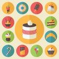 Sweets element set, food icons, flat design vector