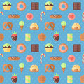Sweets flat multicolored cute vector seamless pattern (blue). Minimalistic design. Royalty Free Stock Photo