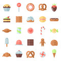 Sweets flat multicolored icons vector set. Minimalistic design.