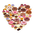 Sweets forming a heart Royalty Free Stock Photography
