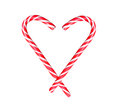 Sweets heart of candy canes isolated on white background Royalty Free Stock Image