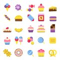 Sweets icon. Chocolate candy biscuits ice cream pie vector colorful symbols