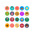 Sweets icons set in flat style. Food set.