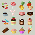 Sweets icons set in flat style