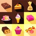 Sweets icons set, flat style