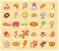 Sweets icons set, vector illustration