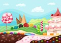 Sweets landscape vector illustration with a Stock Image