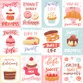 Sweets lettering vector confectionery cupcake sign and sweet confection chocolate dessert with caked candies template