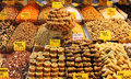 Sweets and nuts in istanbul at the street markets Stock Photo