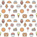 Sweets outline multicolored cute vector seamless pattern. Minimalistic design. Part one. Royalty Free Stock Photo