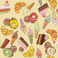 Sweets pattern seamless hand drawn clolored doodles over a retro yellow background Royalty Free Stock Image