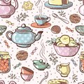 Sweets pattern. Tea party. Sweets background.