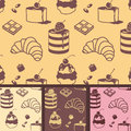 Sweets pattern vector seamless with bake and Royalty Free Stock Image