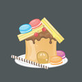 Sweets peanut butter sandwich house create by vector Stock Photo