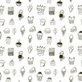 Sweets seamless pattern hand drawn Royalty Free Stock Photography