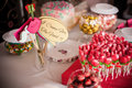 Sweets and snacks some on table in wedding reception party Royalty Free Stock Photos