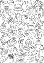 Sweets vector illustration of sweet food collection in black and white Royalty Free Stock Photography