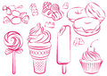 Sweets vector illustration of the various Royalty Free Stock Images