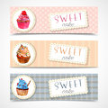 Sweetshop cupcakes banners set Royalty Free Stock Photo