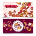 Sweetshop vintage candy banners set Royalty Free Stock Photo