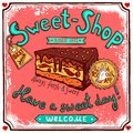 Sweetshop vintage candy poster Royalty Free Stock Photo