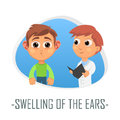 Swelling of the ears medical concept. Vector illustration.