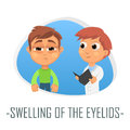 Swelling Of the eyelids medical concept. Vector illustration.