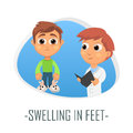 Swelling in feet medical concept. Vector illustration.