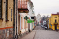 Swiecie street view with stores and shops in poland Royalty Free Stock Images