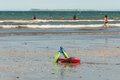 Swim fins on beach Royalty Free Stock Photo