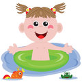 Swimmer funny girl. Stock Photo