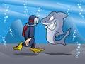 Swimmer meet shark