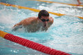 Swimmer in motion in a spray of water Royalty Free Stock Photo