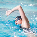 Swimmer performing the crawl stroke Royalty Free Stock Photography